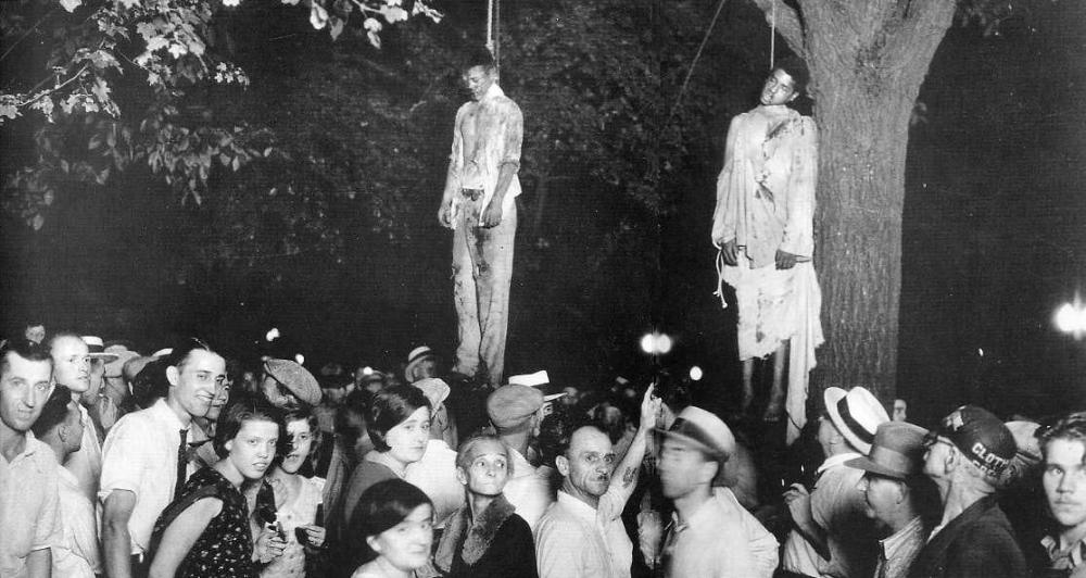 Lynching of Thomas Shipp and Abram Smith in August 1930, photo by Lawrence Beitler